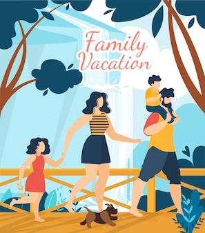 Cartel de rotulación de vacaciones tropicales en familia