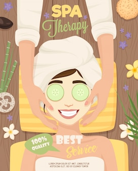Cartel de la rutina del cuidado de la piel del spa