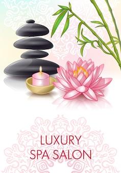 Cartel de salón de spa con piedras cosméticas y título de salón de spa de lujo