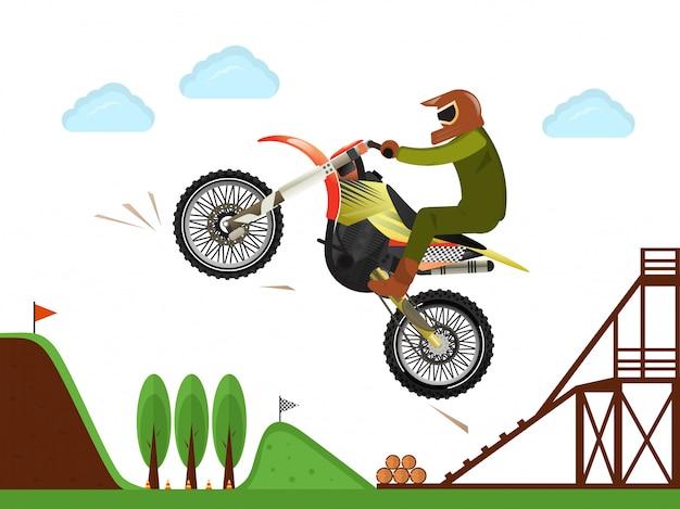 Cartel de salto de piloto de motocross extremo