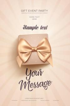 Cartel de saludo de fiesta de evento de regalo con caja de regalo beige y lazo dorado