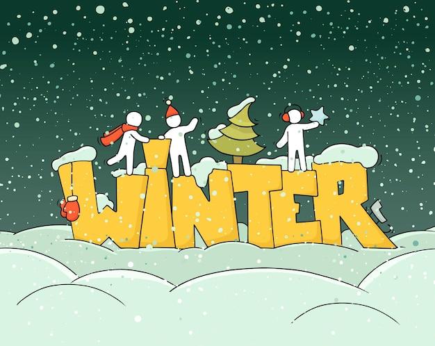 Cartel de saludo de invierno fondo de vector dibujado a mano con adornos de nieve de árbol de navidad