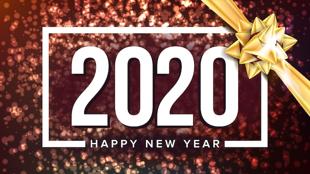 Cartel de saludo de vacaciones de feliz año nuevo 2020