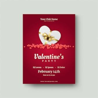 Cartel de san valentín con cajas de regalo blancas y globos rojos de amor.