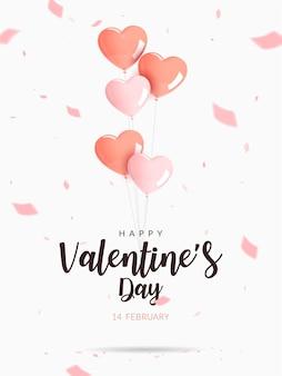 Cartel de san valentín. globos de color rosa y naranja en forma de corazón de helio con confeti.