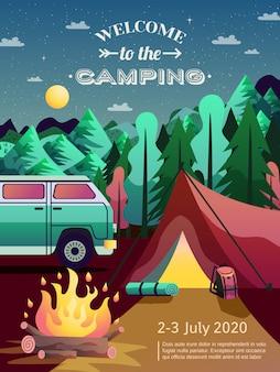 Cartel de senderismo de camping