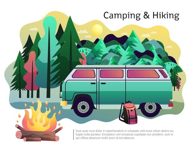 Cartel de senderismo que acampa