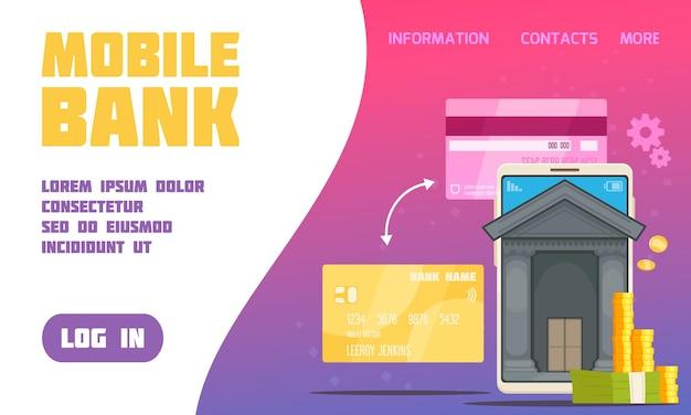 Cartel de servicio de banco móvil con contactos y símbolos de información planos.