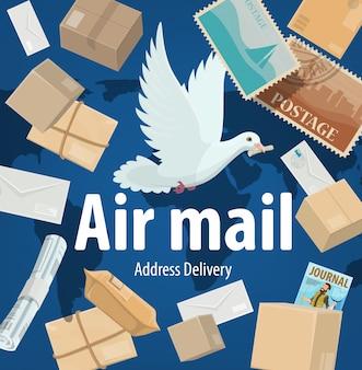 Cartel de servicio de correo aéreo, flete y entrega de paquetes. paloma blanca de dibujos animados sobre fondo de mapa del mundo con buzones de correo, sellos postales, paquetes, revistas y periódicos. oficina de correos de envío urgente