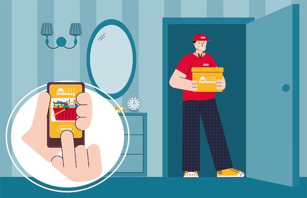 Cartel de servicio de entrega de alimentos de comestibles exprés con mensajería en la puerta abierta