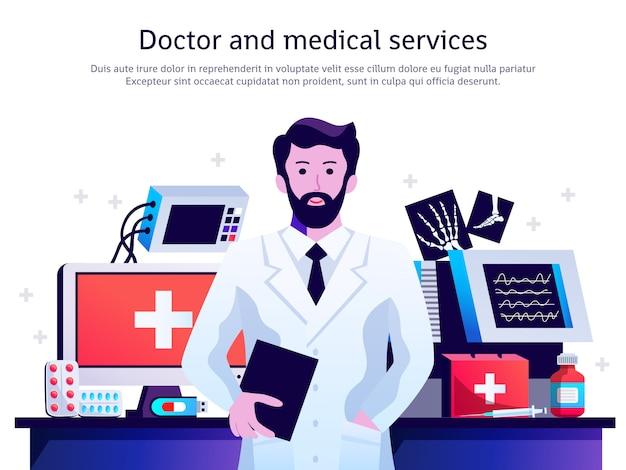 Cartel del servicio médico del doctor