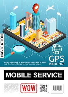 Cartel del servicio de navegación móvil isométrica con la ciudad en la lupa de la pantalla del teléfono inteligente y la ilustración del puntero del mapa