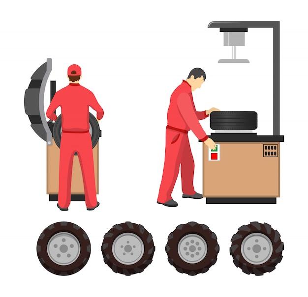 Cartel de servicio de neumáticos en estilo de dibujos animados