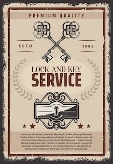 Cartel de servicio vintage de cerradura y llaves con llaves antiguas ornamentales y cerradura