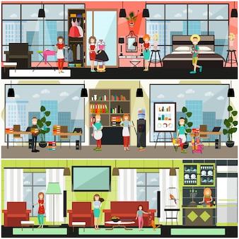 Cartel de servicios de limpieza de hogar y oficina, conjunto de banner