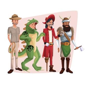 Cartel con set de hombres en traje de halloween