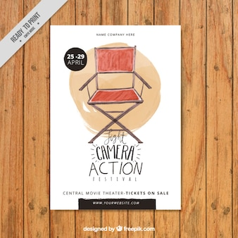 Cartel de silla de director de acuarela