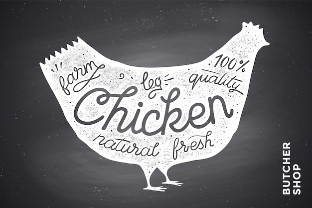 Cartel con silueta de pollo rojo. letras