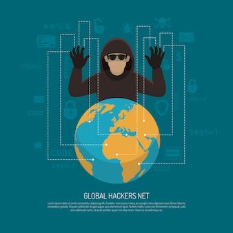 Cartel simbólico del fondo de la red global de los piratas informáticos