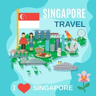 Cartel de símbolos nacionales de viajes de singapur