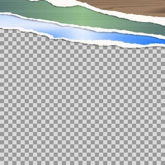 Cartel simulado con borde de viejos carteles de papel rasgado de colores, con espacio de copia para su diseño, aislado sobre fondo blanco. ilustración vectorial.