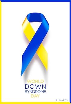 Cartel social del día mundial del síndrome de down. cinta de conciencia.