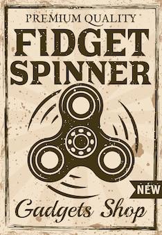 Cartel de sohop de spinner de mano en ilustración de estilo vintage para publicidad