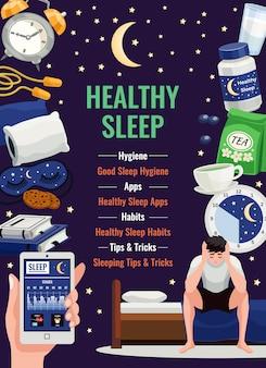 Cartel de sueño saludable con reloj despertador almohada ortopédica taza de elementos planos de té de hierbas en el cielo estrellado de noche