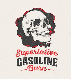 Cartel superlativo de quema de gasolina con calavera