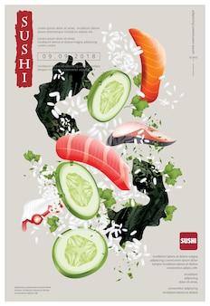 Cartel de sushi restaurante ilustración vectorial
