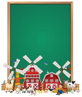 Cartel de tablero en blanco con conjunto de granja de animales aislado