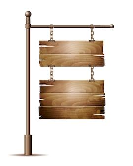 Cartel de tablero de madera vacío colgando de una cadena aislada en blanco.