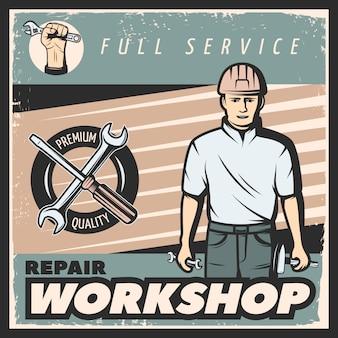 Cartel de taller de reparación vintage