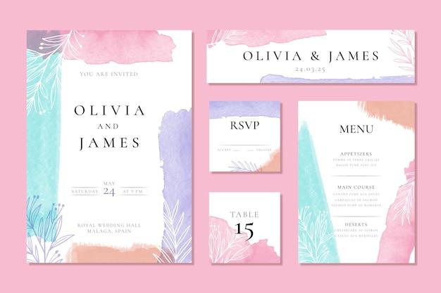 Cartel y tarjetas de papelería de boda en acuarela