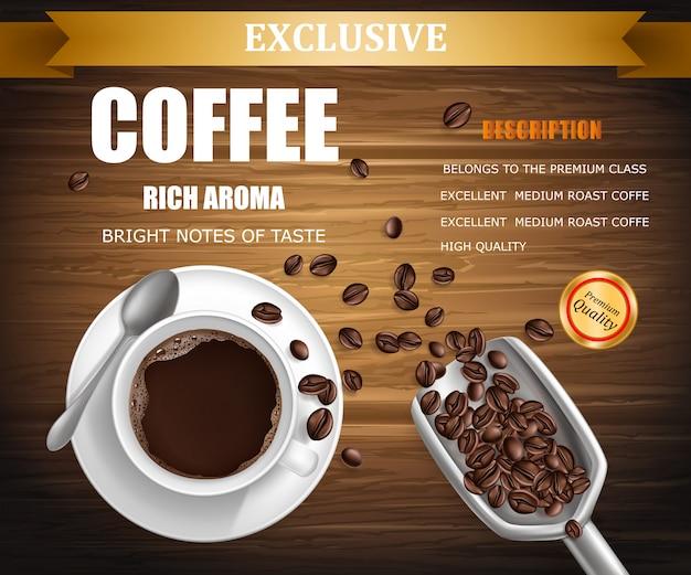 Cartel con taza de café, diseño de paquete.