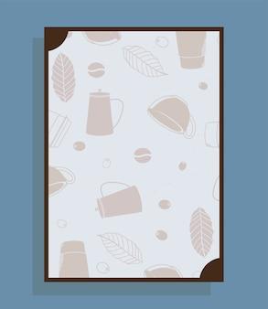 Cartel con tazas y hojas de cafeteras