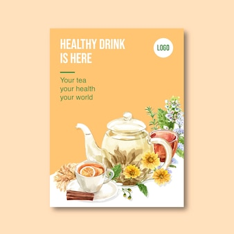 Cartel de té de hierbas con melissa, limón, crisantemo ilustración acuarela.