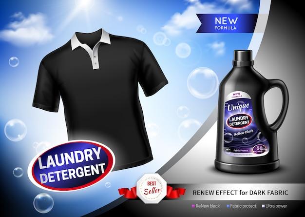 Cartel de tela oscura de detergente para ropa