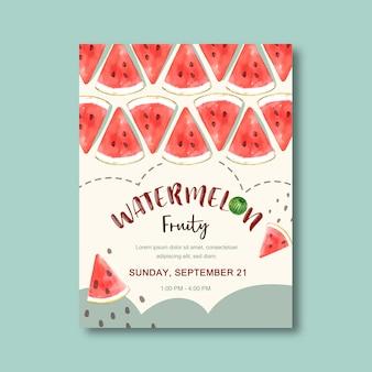 Cartel con tema de frutas, plantilla creativa de ilustración de sandía