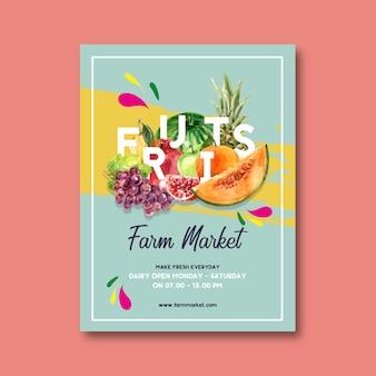 Cartel con tema de frutas, plantilla de ilustración acuarela creativa.