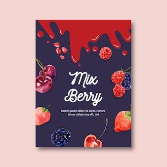 Cartel con tema de frutas, plantilla de ilustración de bayas creativas