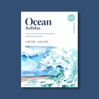 Cartel con tema de vida marina, plantilla creativa de ilustración de acuarela olas idea