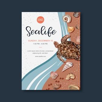Cartel con tema de vida marina, tortuga en la orilla del mar plantilla de ilustración acuarela.