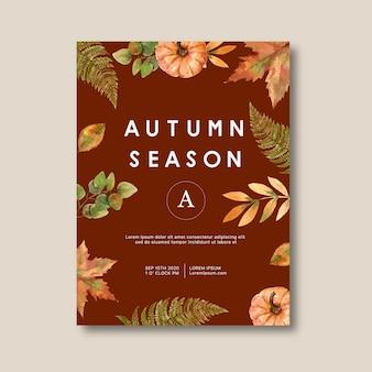 Cartel temático de otoño con plantas