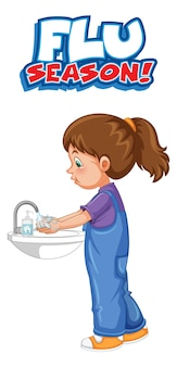 Cartel de la temporada de gripe con una niña lavándose las manos en blanco