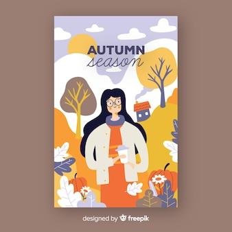 Cartel de temporada otoño dibujado a mano