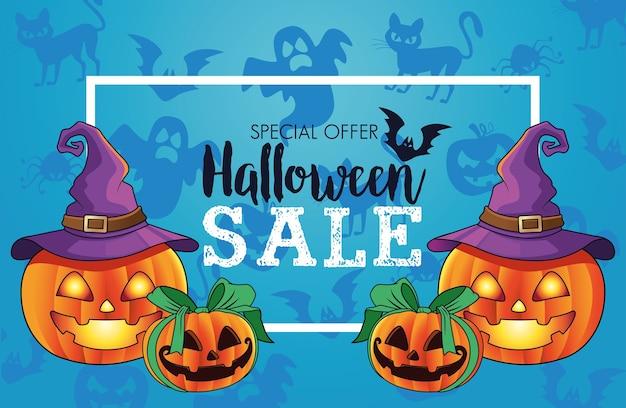 Cartel de temporada de venta de halloween con calabazas grupales