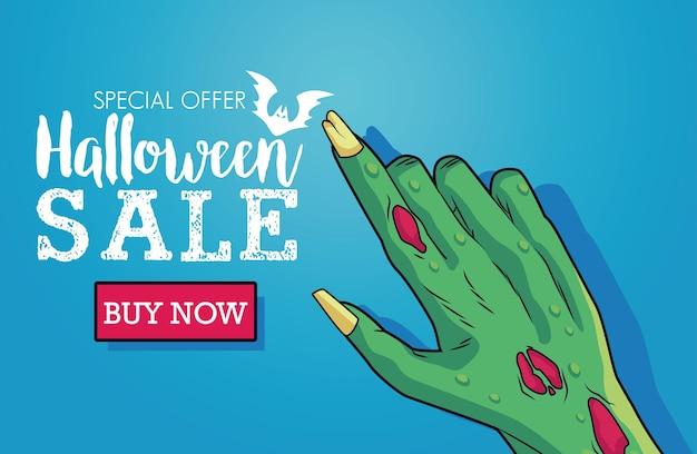 Cartel de temporada de venta de halloween con mano de muerte y letras