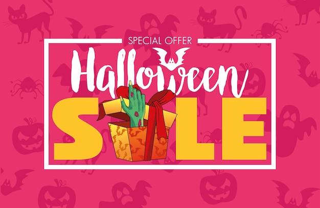 Cartel de temporada de venta de halloween con mano de muerte saliendo de letras de regalo
