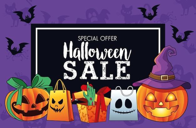 Cartel de temporada de venta de halloween con mano de muerte saliendo de regalo y calabazas